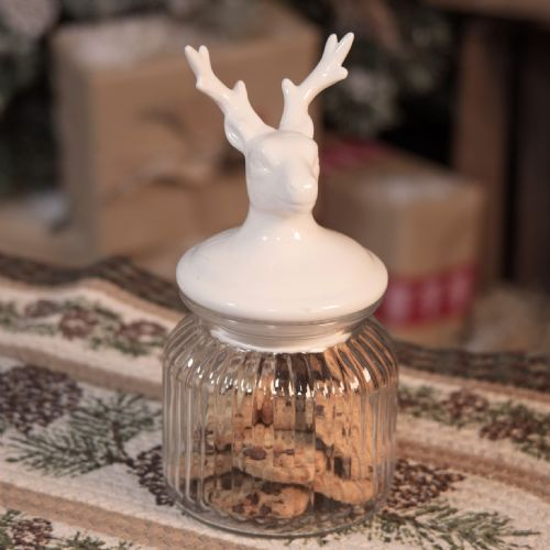 Christmas Glass Jar With White Reindeer Lid Christmas Kitchen Collection Winter Stag